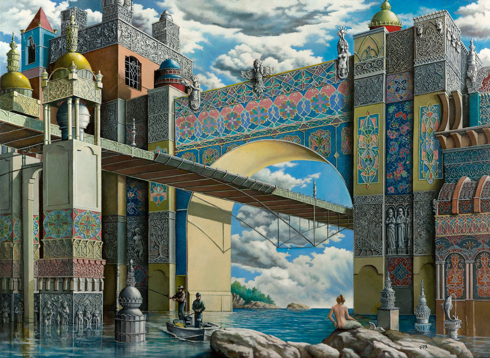 Howard Fox,  Under the Bridge , 1999, oil on canvas, 28 x 39 inches  (inquire)