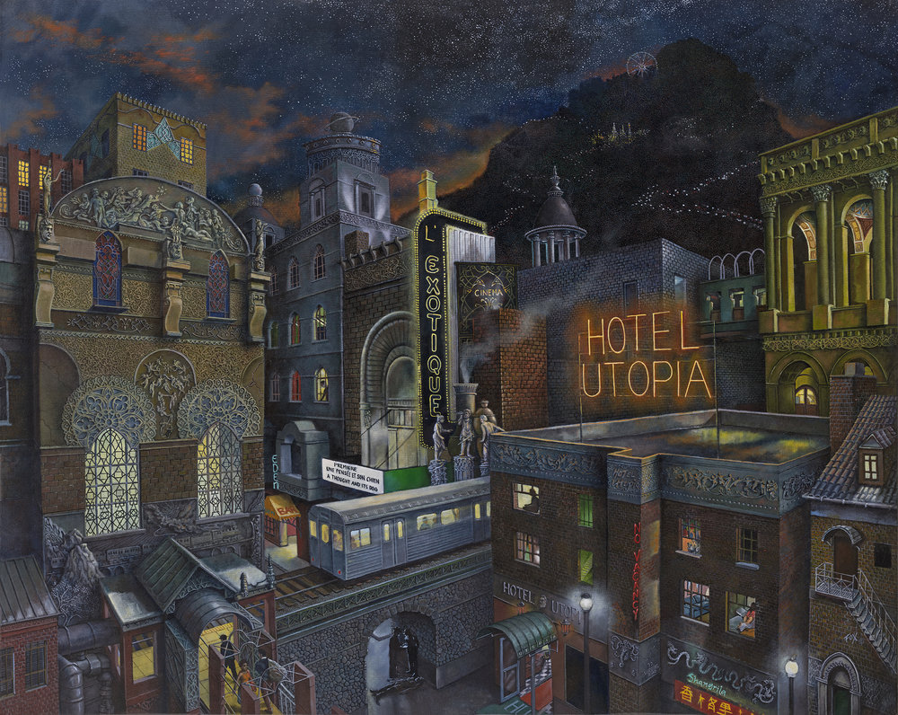 Howard Fox,  Hotel Utopia , 2018, oil on canvas, 47 x 59 inches  (inquire)