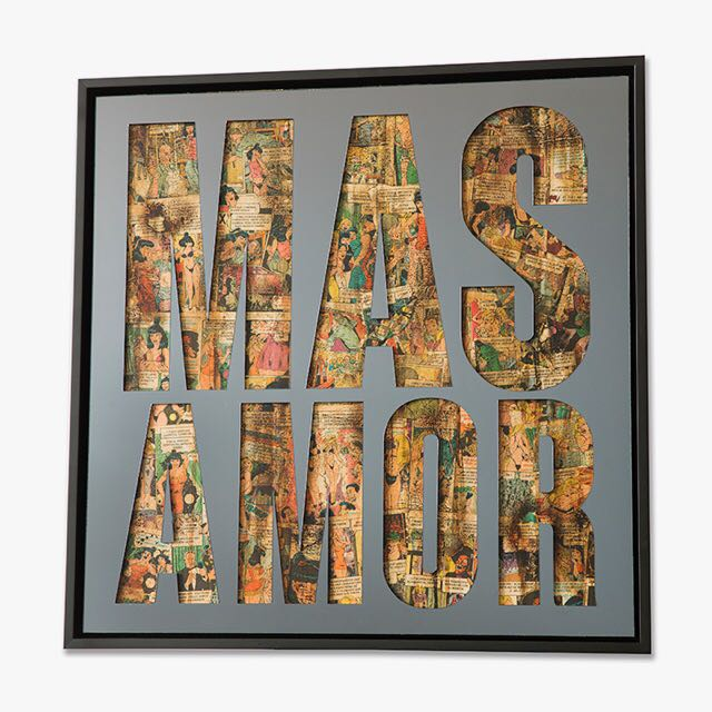 Mas Amor , 2017, Mirrored acrylic, collage & spray paint on panel, 24 x 24 inches  (inquire)