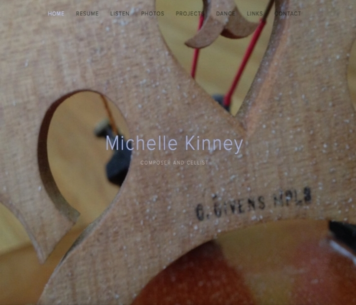 Close up of a cello image that links to Michelle Kinney's website