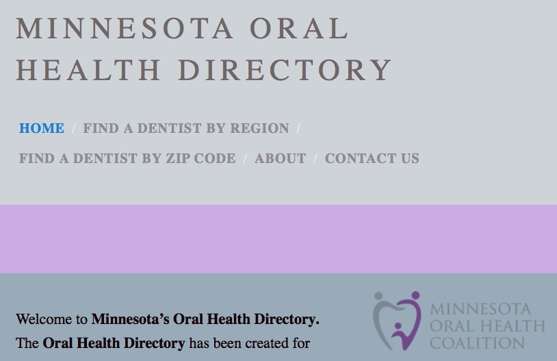 that links to the Minnesota Oral Health Directory website