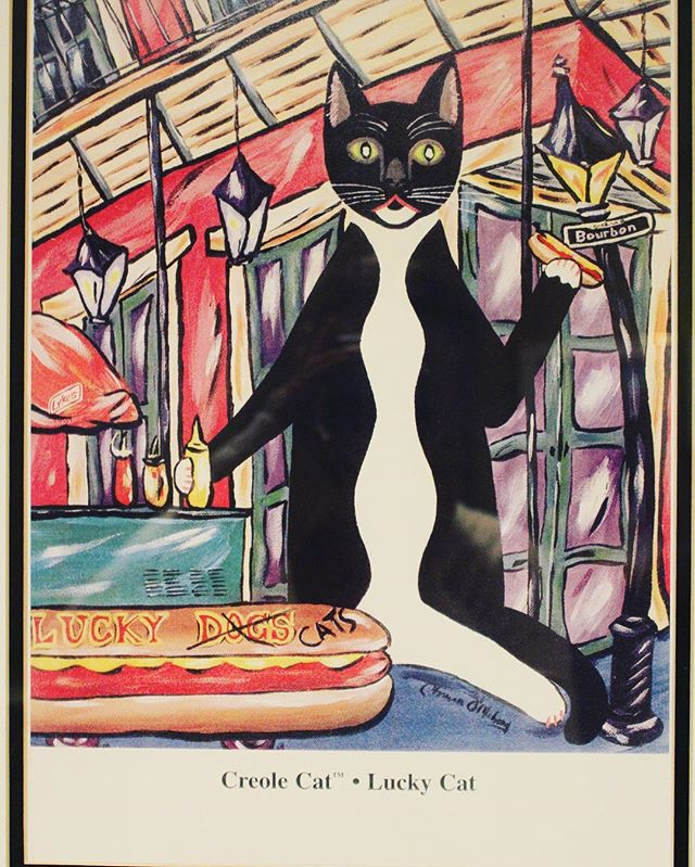 """Creole Cat"" - we love @luckydogsnola #art . Be sure to tag us so we can share! #creole #cat #luckydogsnola #hotdogs #Nola #southerliving #neworleans #original #bourbonstreet #frenchquarter #french #foodcart #food #nomnom #hotdogs"
