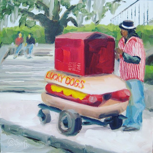 A little @luckydogsnola #art on a cold and windy #neworleans day. #local #artist #nola #frenchquarter #food #tradition #neworleanstradition #painting #charleneswift #streetart #foodcart #since1950s #louisiana
