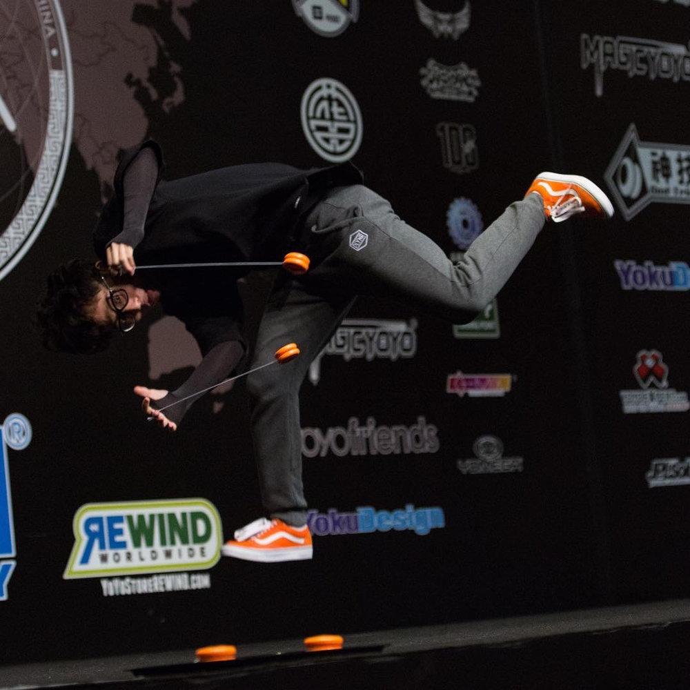 Shu landing an acrobatic trick, in Shanghai!