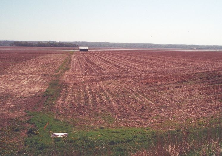 The Hennepin and Hopper site in 2000 before restoration began, drained and covered by agricultural fields.