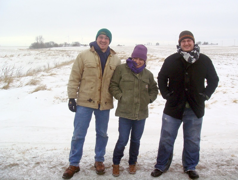 The UIC student team (from left to right: Caleb Carr, Diana Mejorado, and Paul Jacobs) on their February site visit to the Big Bureau Creek Watershed. Photo by Jill Kostel/TWI.