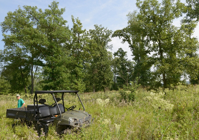 A view of the developing oak savanna at the Dixon Refuge. All-terrain vehicles (ATVs) are currently the only way to easily access this area. Photo by Gary Sullivan/TWI.