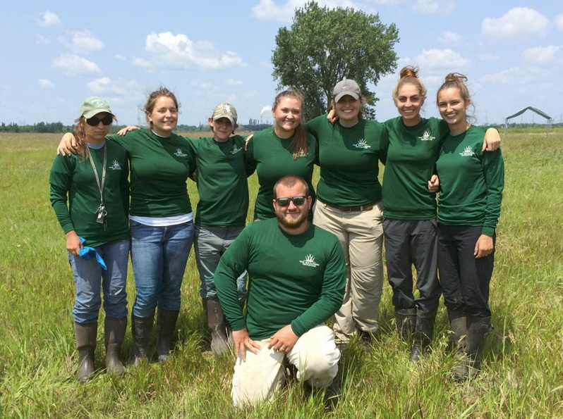 Erin Cox, TWI summer intern (third from left), joined TWI's all-female field restoration crew at Midewin in summer 2014, led by TWI restoration specialist Trevor Edmonson.