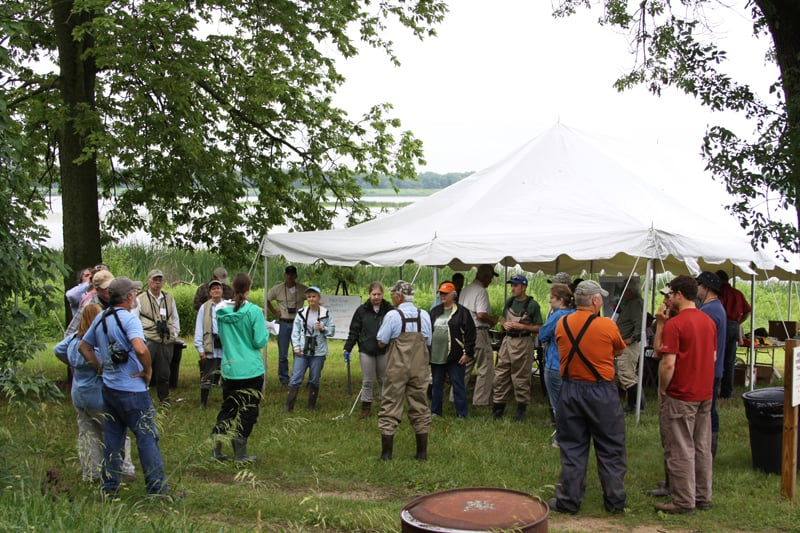 Bright and early on Sunday morning, participants gathered at the BioBlitz base camp for orientation before beginning their surveys. Photo by David Miller.