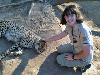 Lauren during a previous summer internship at a South African wildlife sanctuary.
