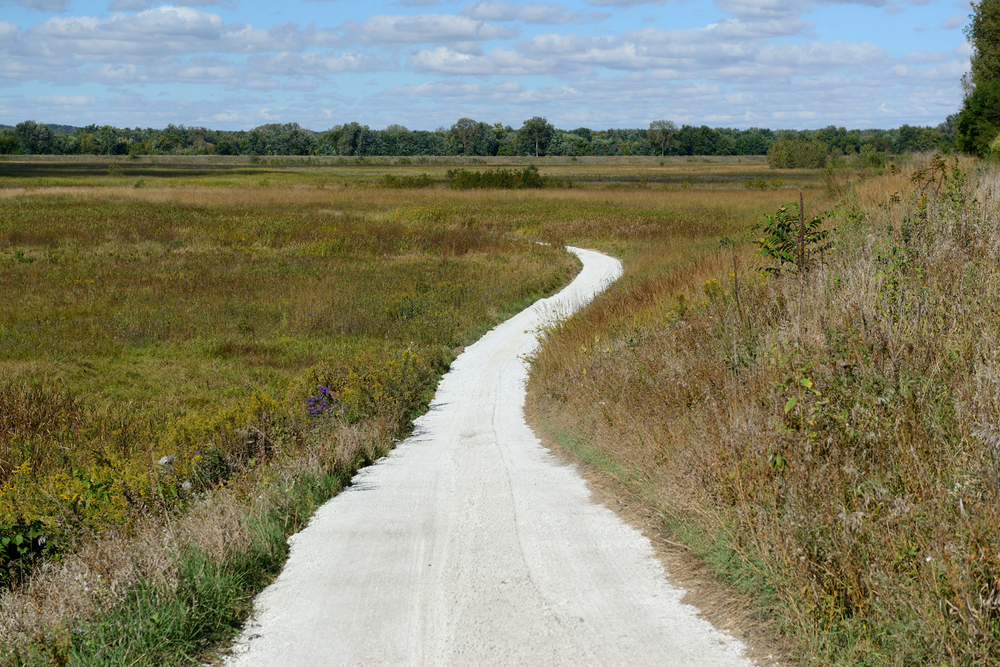 The 2.7-mile Marquis Oak Ridge Trail leads through rich restored wetland, prairie, and savanna habitats at the Dixon Waterfowl Refuge.