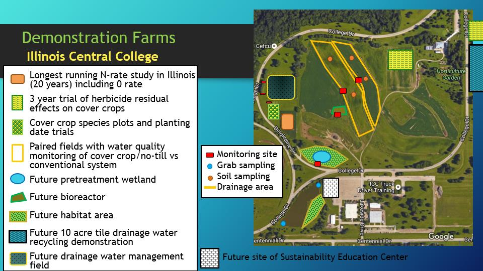 A map of the Illinois Central College demonstration farm showing the future site of the constructed wetland and other conservation practices. Illustration by Caroline Wade/TNC.