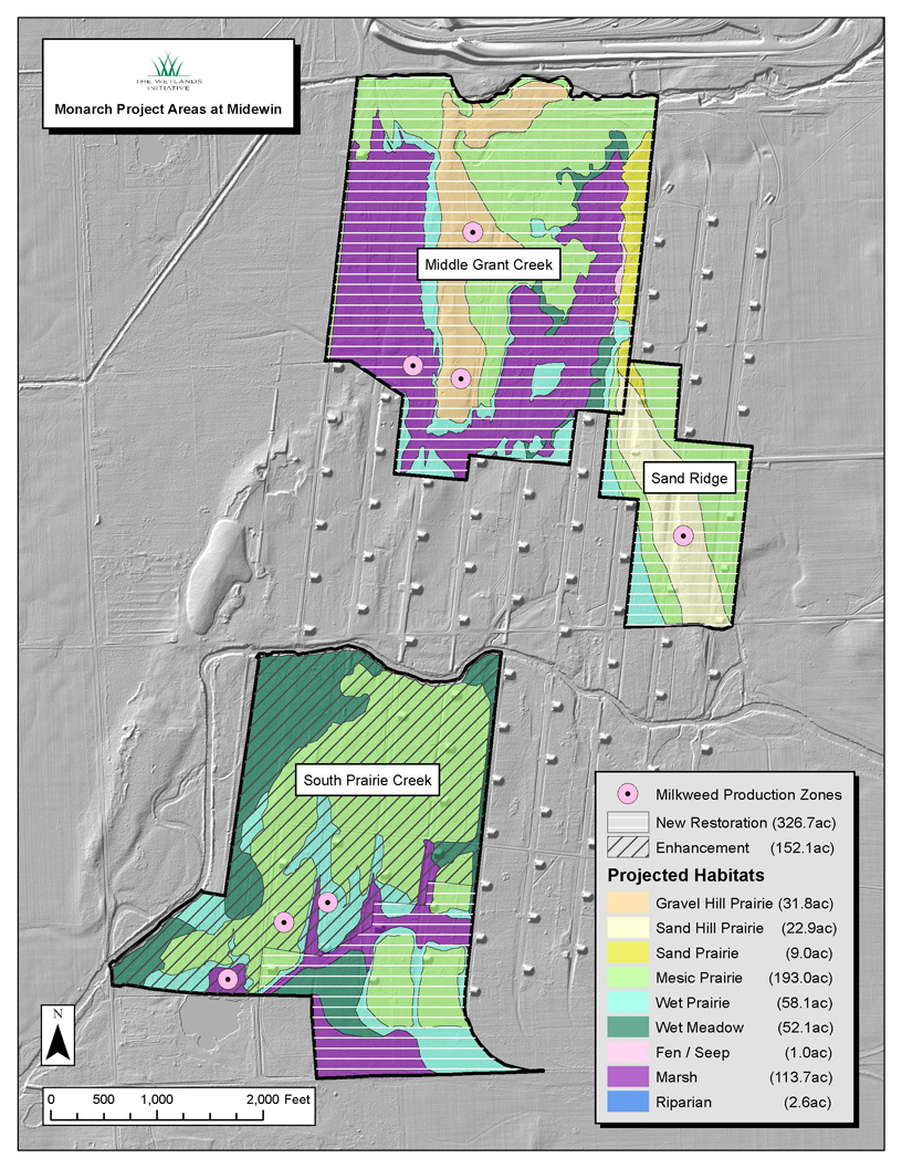 A map of the three tracts on which TWI and the U.S. Forest Service will be restoring prime monarch habitat at Midewin over the next two years. Pink circles mark the locations of in-field milkweed production zones. Map by Jim Monchak/TWI (click to enlarge).