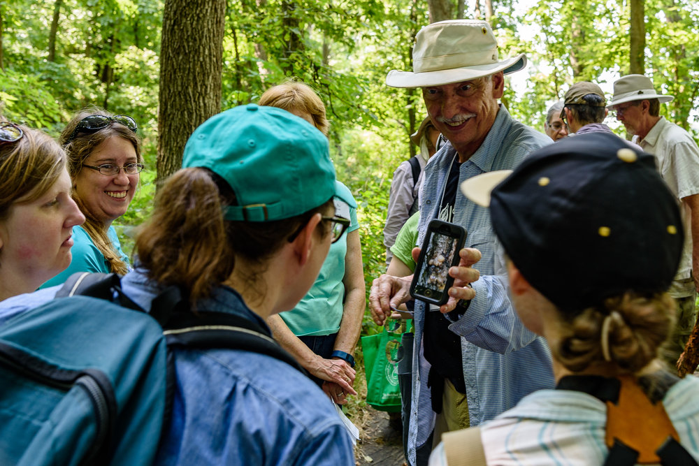Mycologist Greg Mueller from the Chicago Botanic Garden sharing an interesting fungus species with participants. Photo by Rafi Wilkinson.