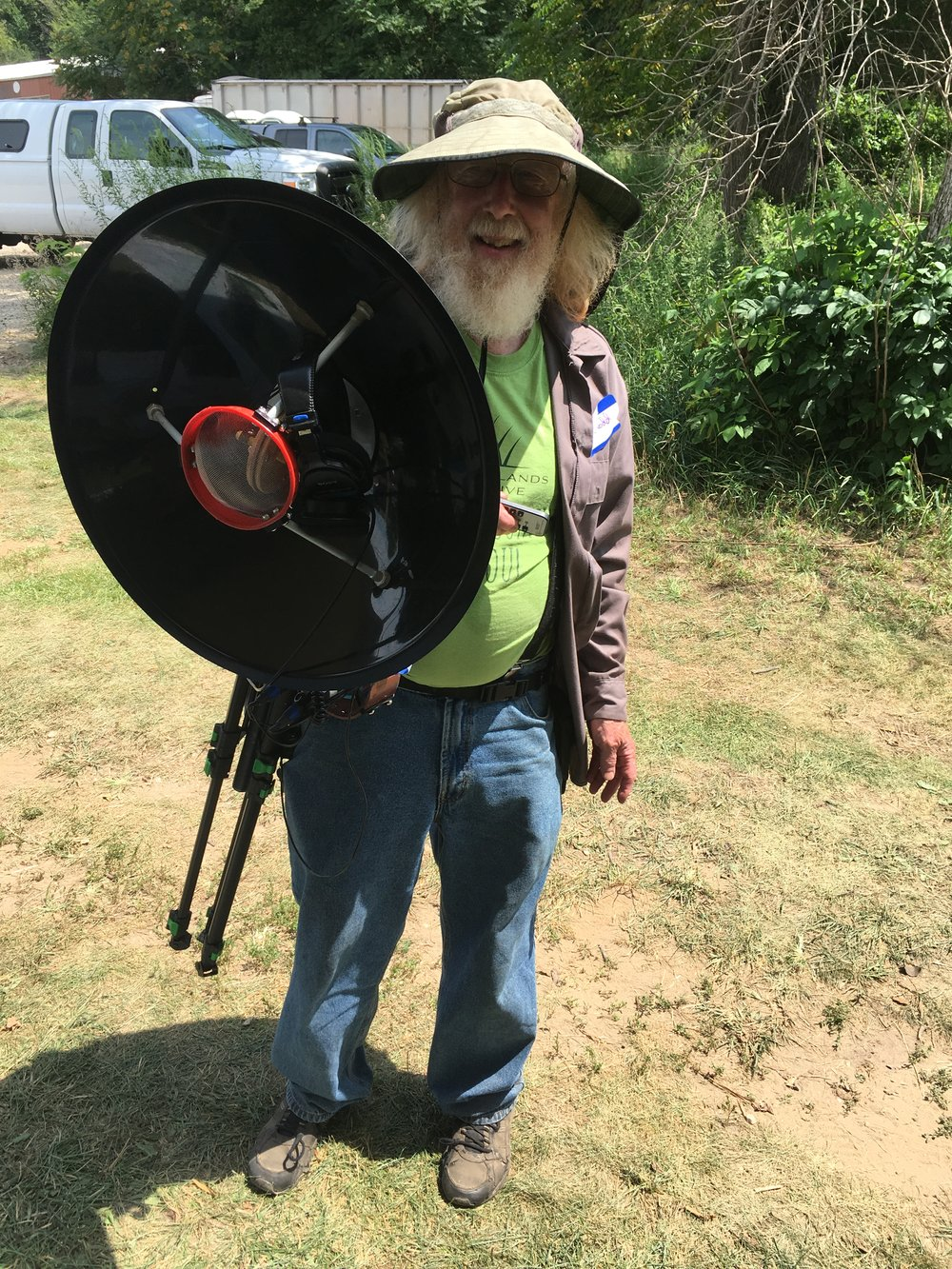 The BioBlitz was like a rock concert for nature enthusiasts! Regular Refuge visitor Dick Todd sported his equipment for recording insect calls and other nature sounds. Photo by Vera Leopold/TWI.