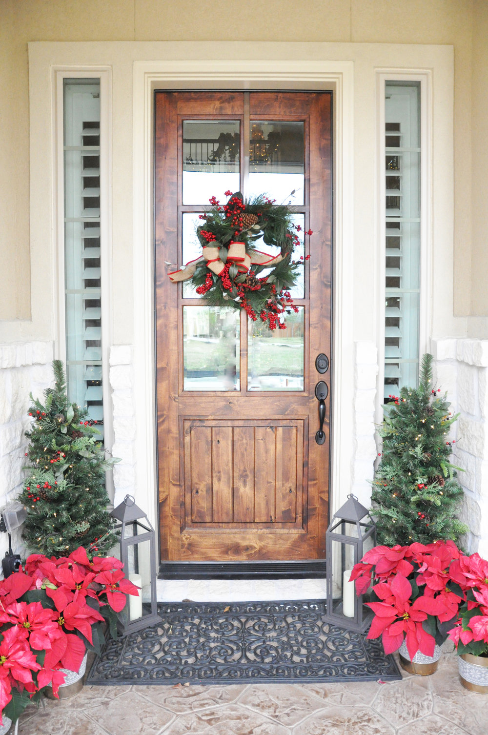 ... Red Berries On My Wreath And Little Christmas Trees. I Also Added Some  Wreaths With Red Bows To The Light Fixtures Flanking The Entrance To Our  Porch.