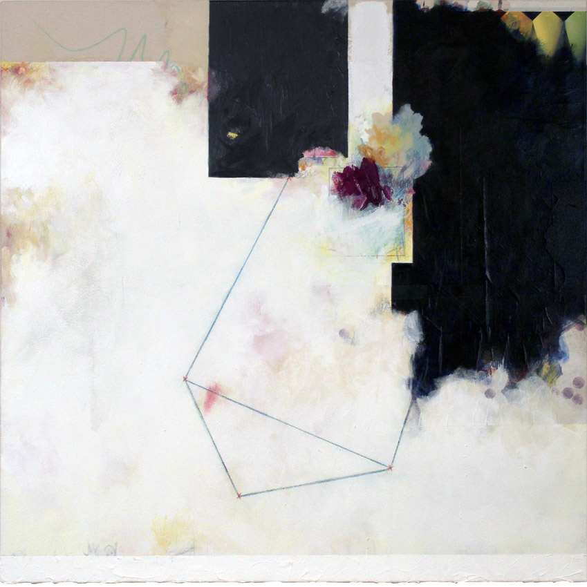 The Scales (Version 2 – Inverted), 2015 acrylic, colored pencil and graphite on canvas with collage 36 x 36 inches