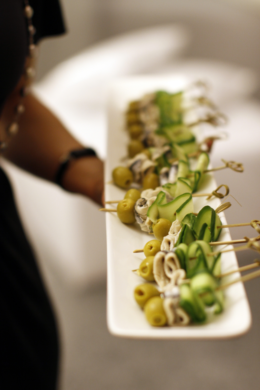Skewered with cucumber & olive. Photo courtesy: asithappens.com