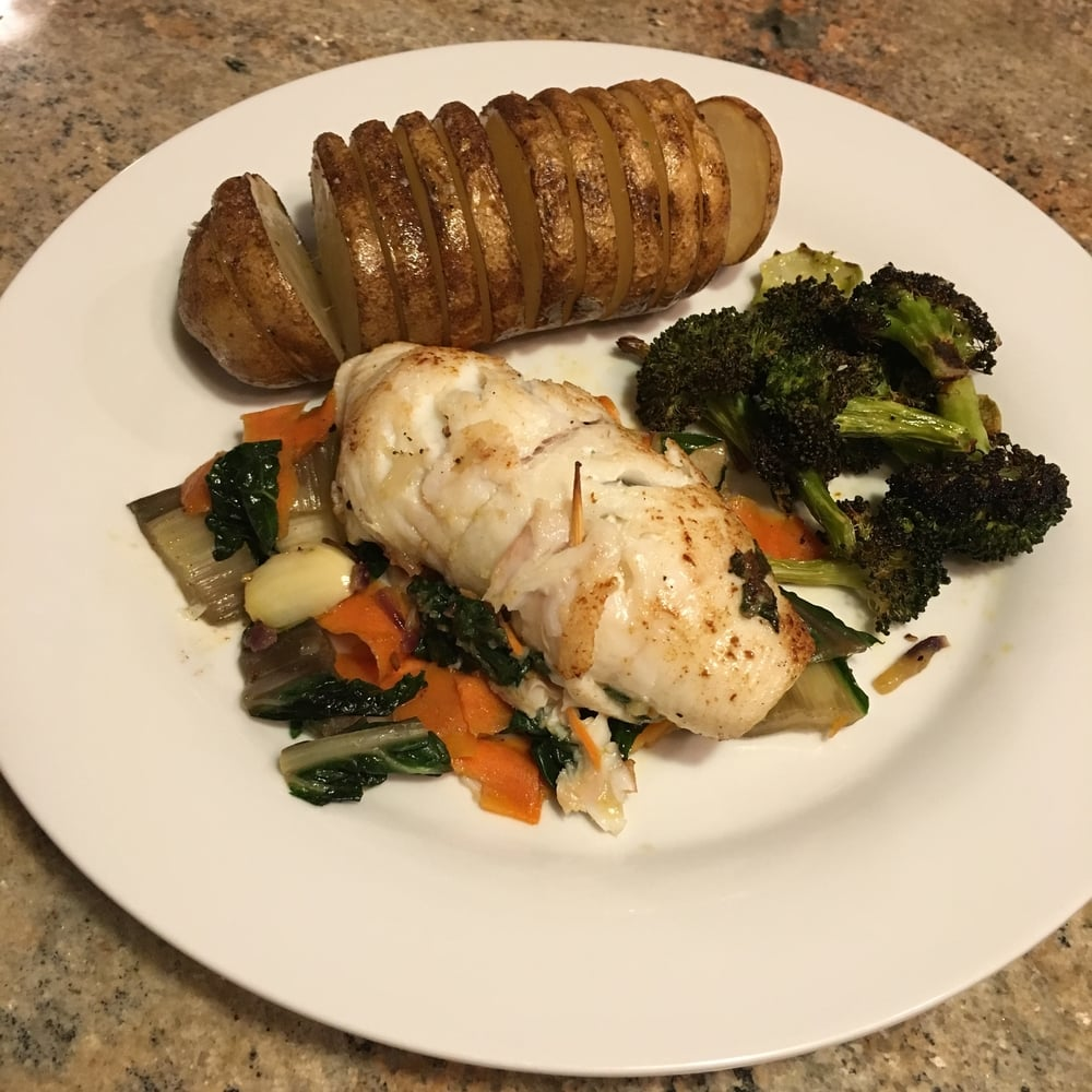 Lemon Sole over carrot/chard ribs, oven roasted broccoli and potato