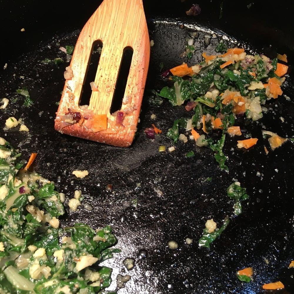 Carrot, swiss chard, polenta mixture