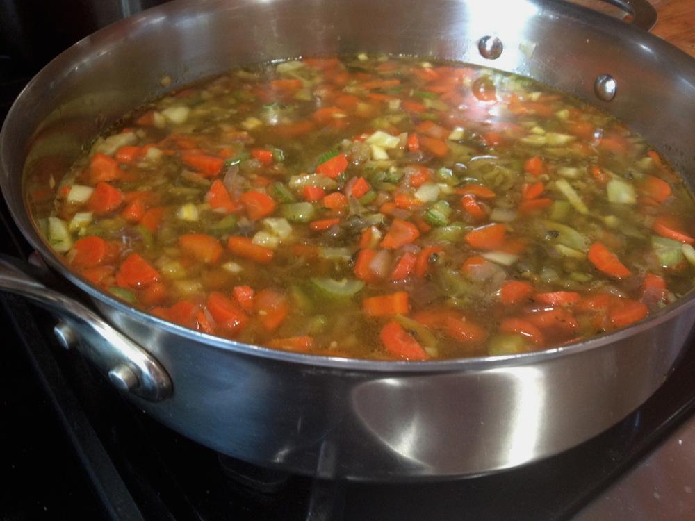 Lentils cooking away