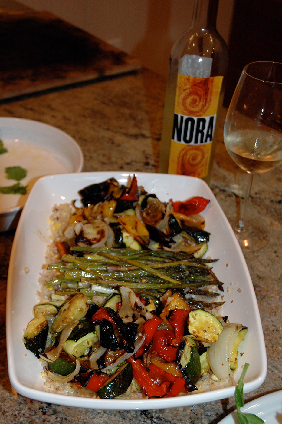 Various grilled vegetables atop Aborio rice.