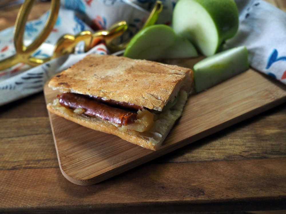 Apple Butter Spicy Sausage Sandwich, beautifully toasted on both sides