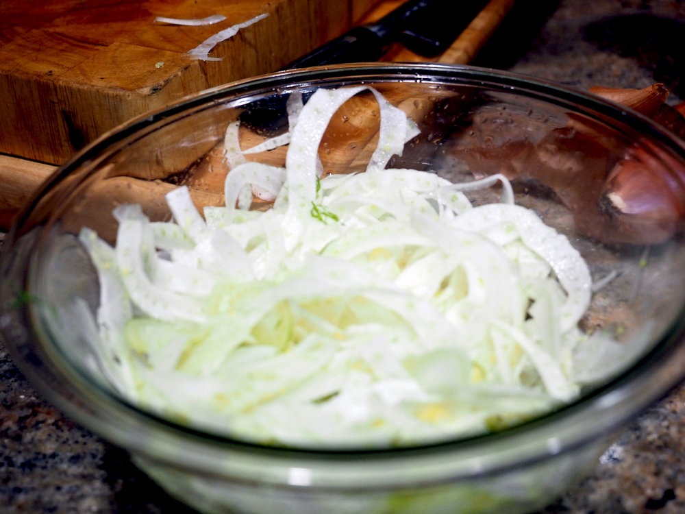 Fennel slices bathing in vinegar, sugar, salt and honey