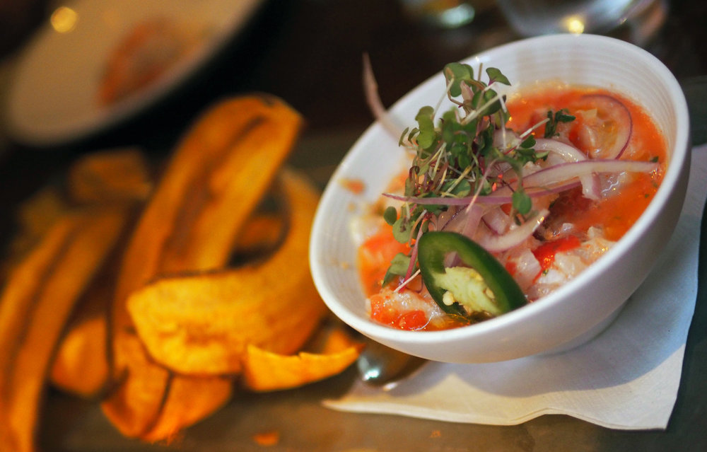 Sea Bass Ceviche with the right amount of heat and citrus. And a generous amount of crunchy plantains.