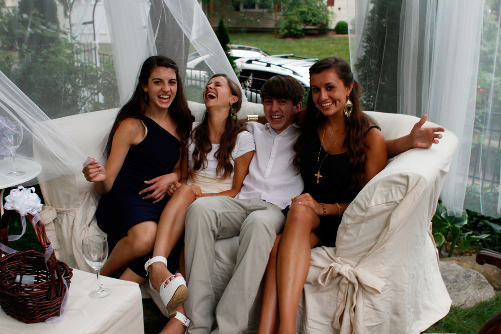 Cousins gathered together having a blast. Gianna, Michella, John and Gabrielle.