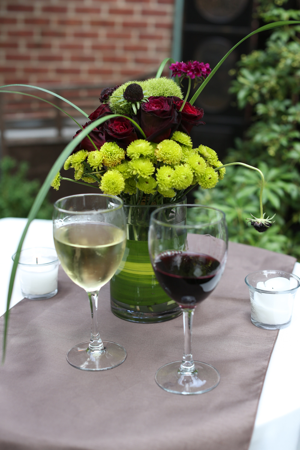 Table florals, with another type of earth's bounty. Liquid Grapes.