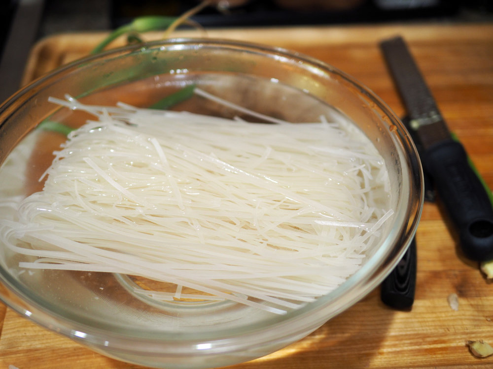 Rice noodles are easy.  Just soak in hot water for 5-10 minutes, then add to boiling water or soup.
