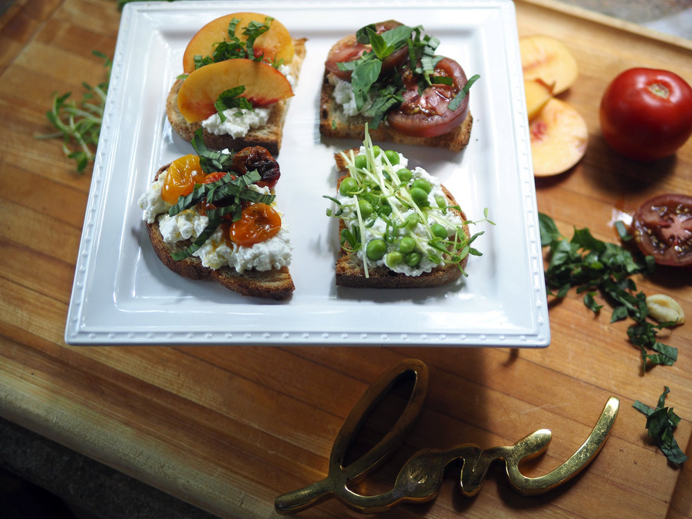 Ricotta crostini topped with the freshest, summer seasonal produce.