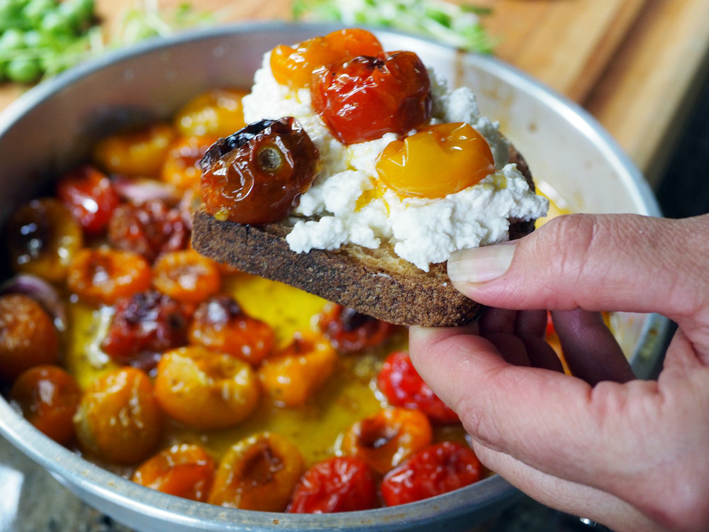I'm sure you will figure out what to do with all those candy jeweled roasted tomatoes.  One idea: make more crostini!
