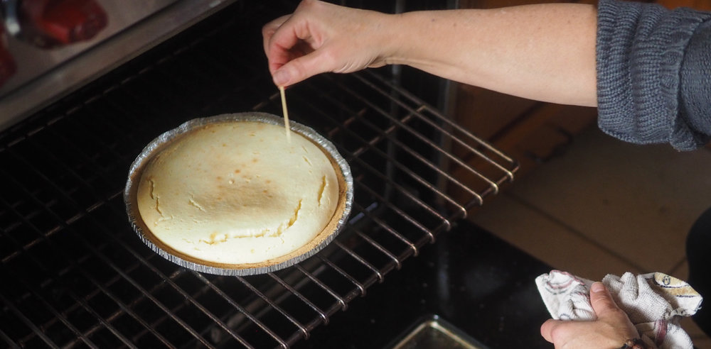 Check your pie doneness by piercing the middle with a toothpick.  When it comes out clean, it's ready for the topping.  Photo credit: Rob Perri