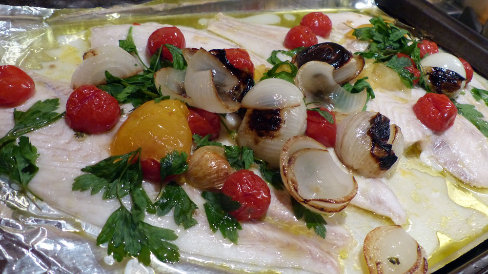 Oven Roasted Grouper Filets with roasted tomatoes, onions and garlic