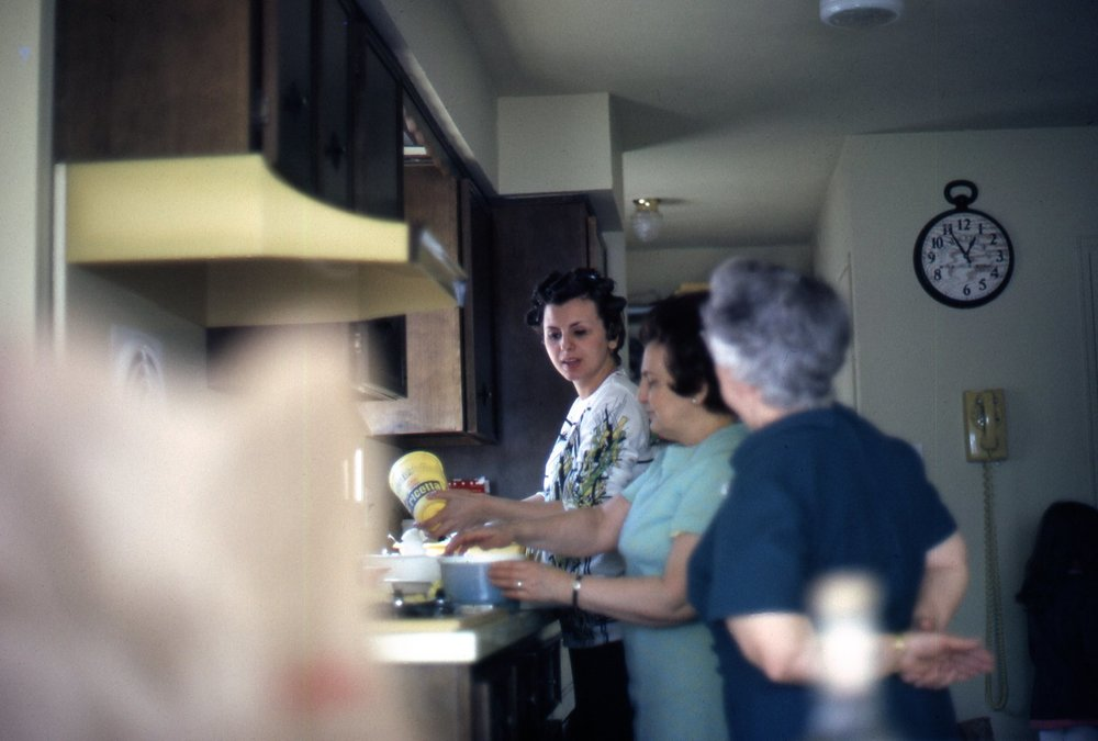 My mom and grandmothers prepping. It takes a village and a few generations to feed an Italian family!      Photo credit: Paul Majewski