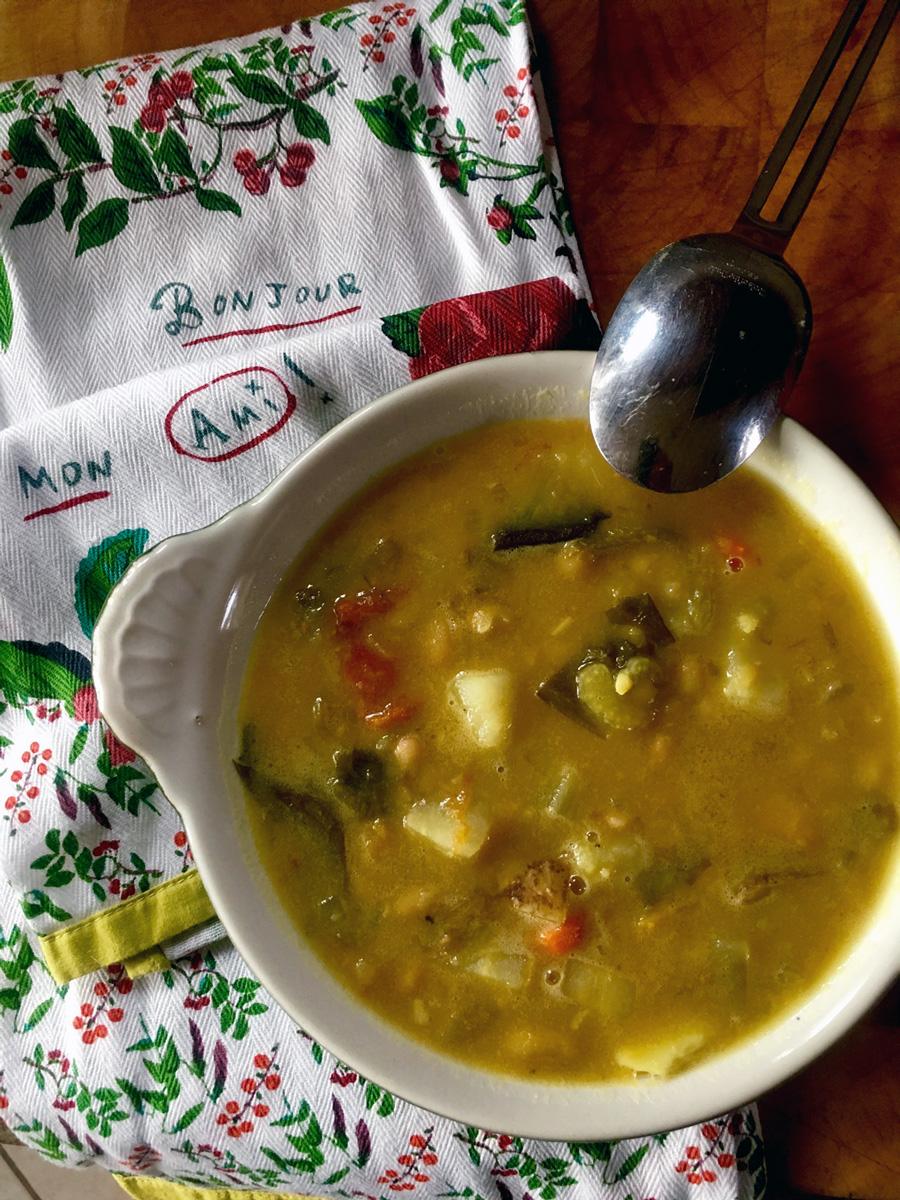 Hearty bean, potato and escarole soup similar style to my Kale, Potato soup, recipe below