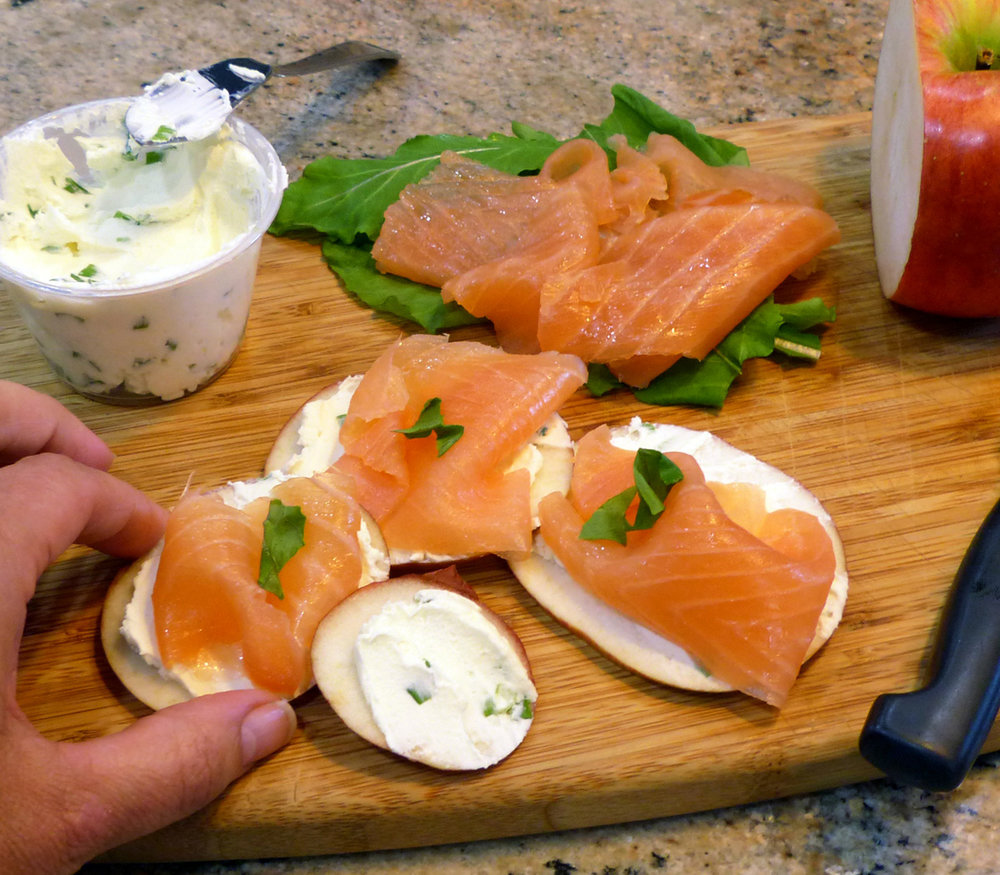 Refreshing on a slice of apple. This is from my   Lox on What?   idea.