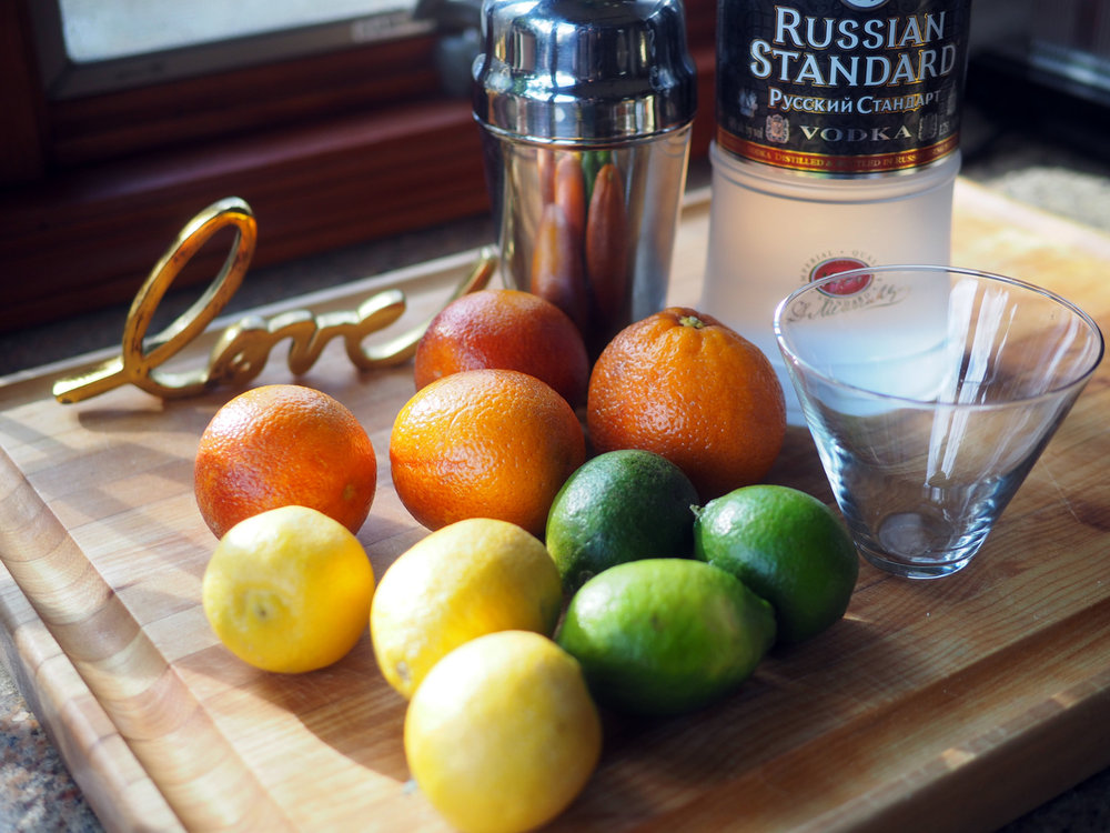 A mix of blood orange, lemons, limes, vodka and simple syrup.
