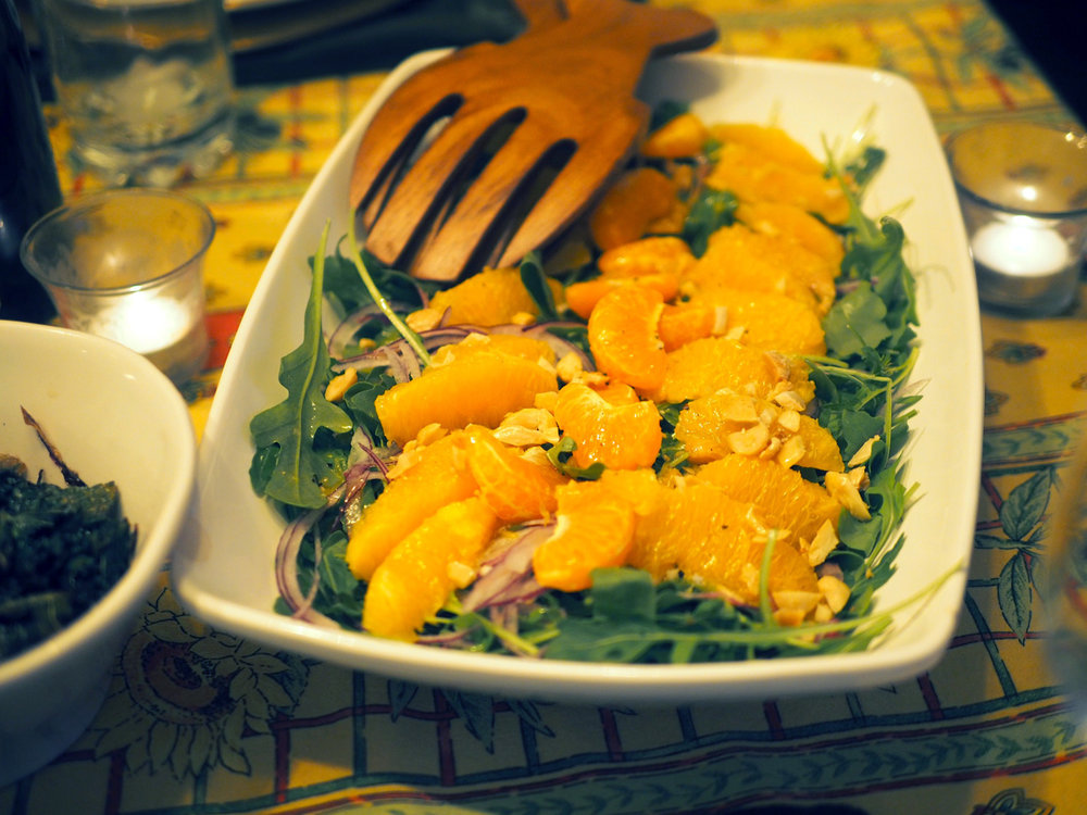 Peppery bite of arugula is balanced by the sweetness of the orange with the crunch of the almond.