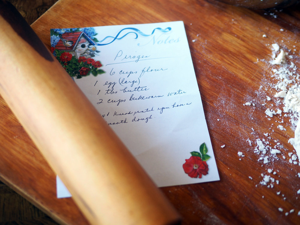 My mom spelled pierogi incorrectly but I love seeing her handwritten recipes.