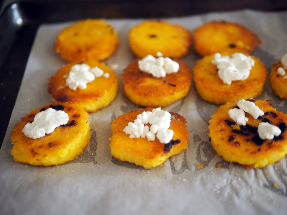 Little drops of goat cheese to add creaminess to the crunch,
