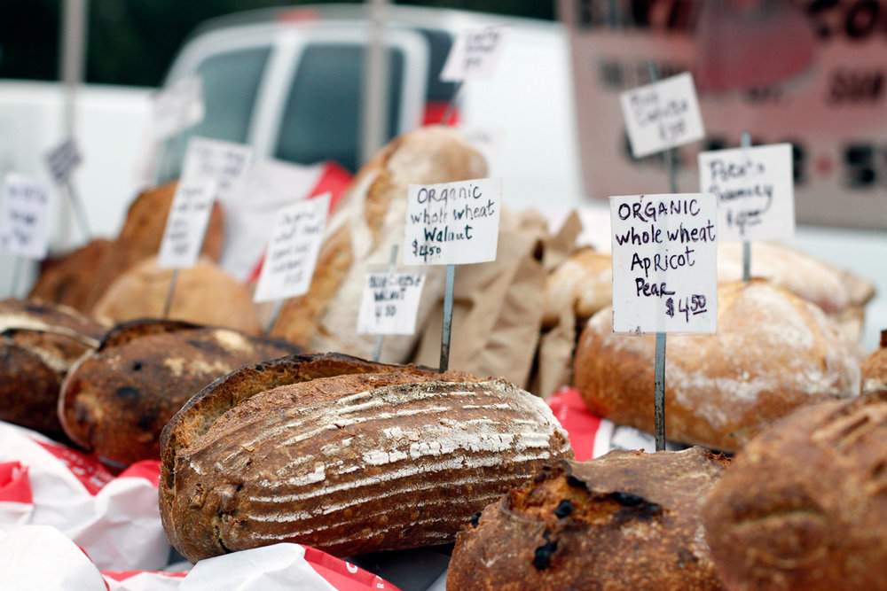 Artisan bread at the market in Marin County, CA