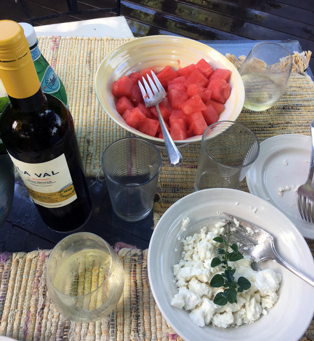 Watermelon & Feta cheese served with a crisp white wine -  La Val Albariño  from Spain.
