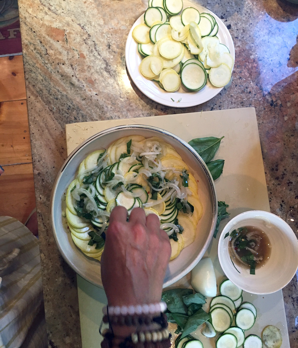 Sometimes I start my circles with yellow squash, then zucchini. Other times the versus. I know, I live dangerously.