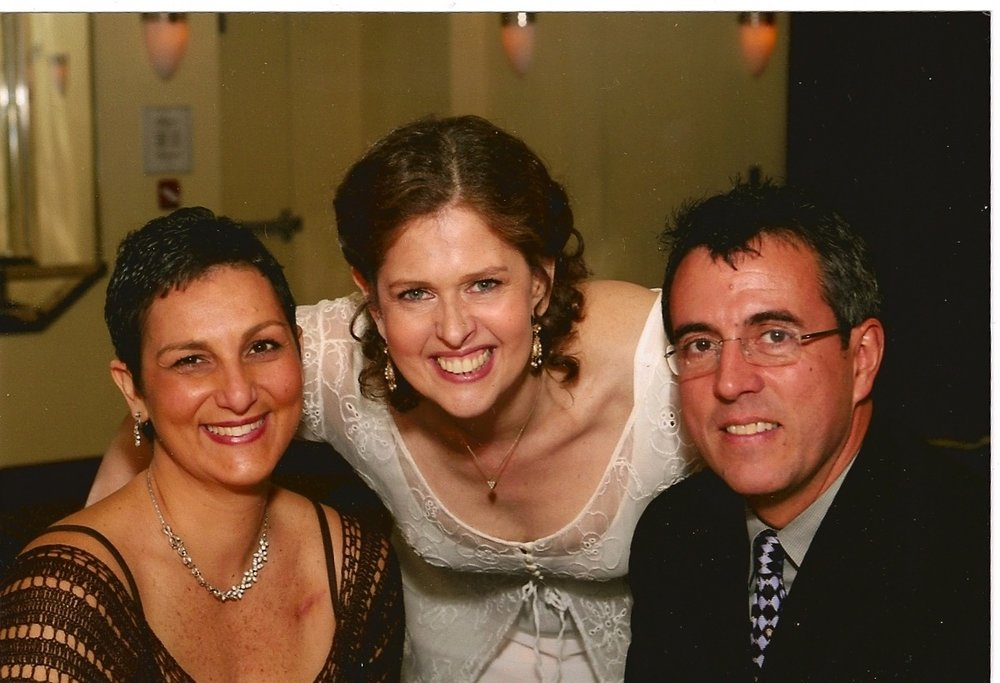Me, Donna & JC at her wedding. Doesn't she look happy & beautiful! And not because of the cookies.