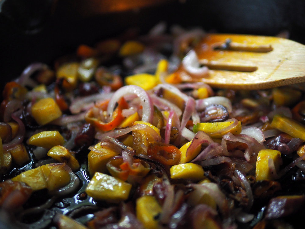 Cook until the vegetables are softened and nicely caramelized.