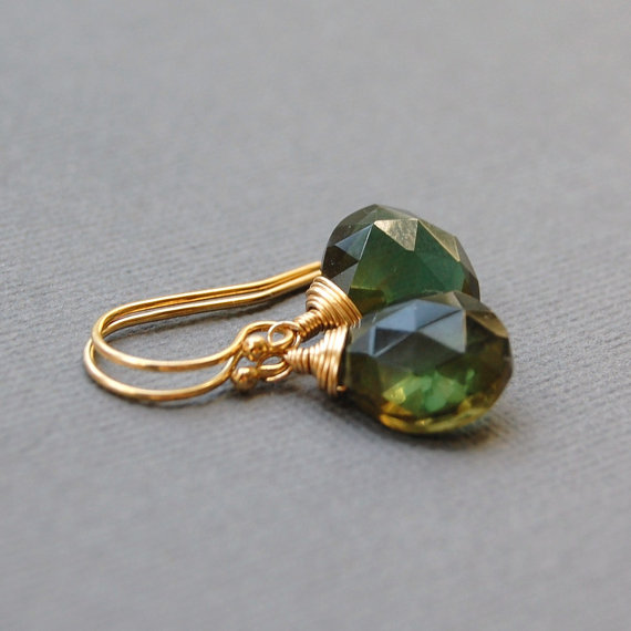Green Quartz in Gold Filled Earrings from Heidy Henke Designs