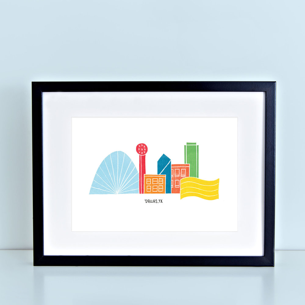 Dallas Skyline Print - Wandering Paper Co.